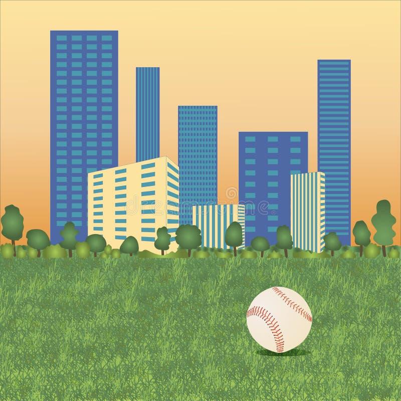 Baseball piłka na pejzażu miejskim ilustracja wektor