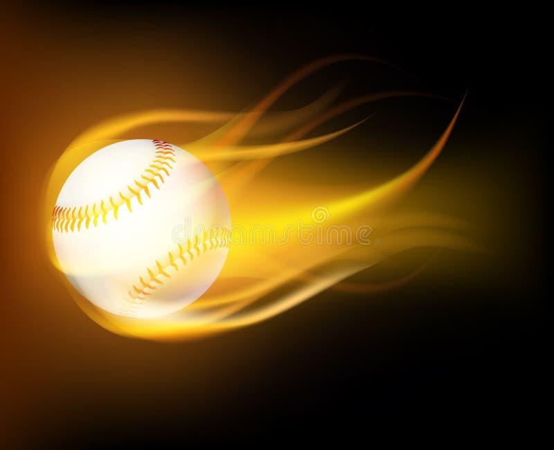 Baseball piłka w płomieniach ilustracja wektor