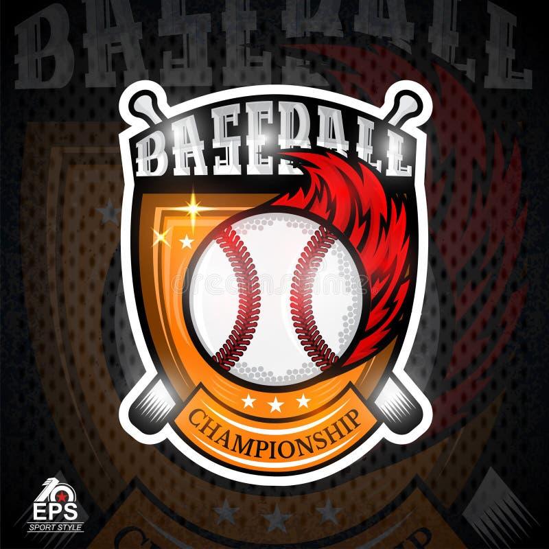 Baseball piłka z czerwonego ogienia śladem w centrum osłona Ilustracja plenerowa przygoda sportów projekta ikona ilustracji