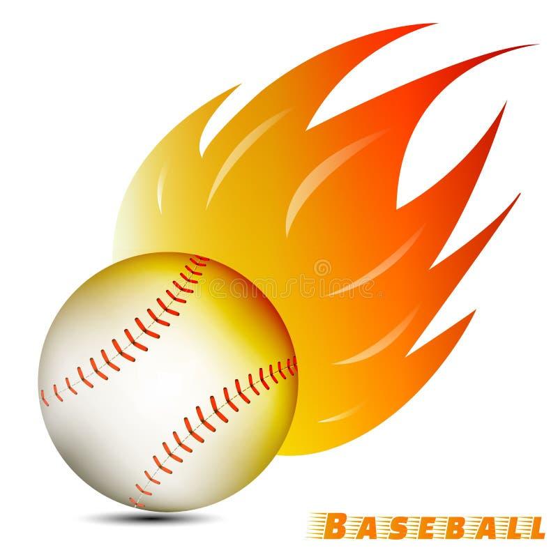 Baseball piłka z czerwonym pomarańczowego koloru żółtego ogienia brzmieniem na białym tle drużyna basebolowa świetlicowy logo wek royalty ilustracja