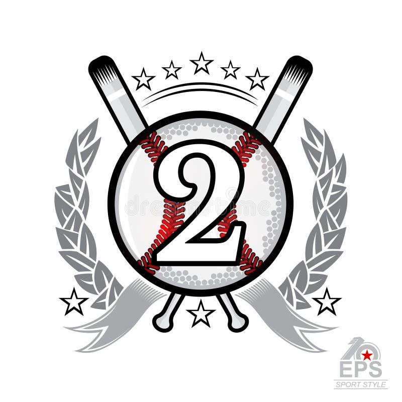 Baseball piłka z numer dwa i krzyży nietoperzami Sporta logo odizolowywający na bielu royalty ilustracja
