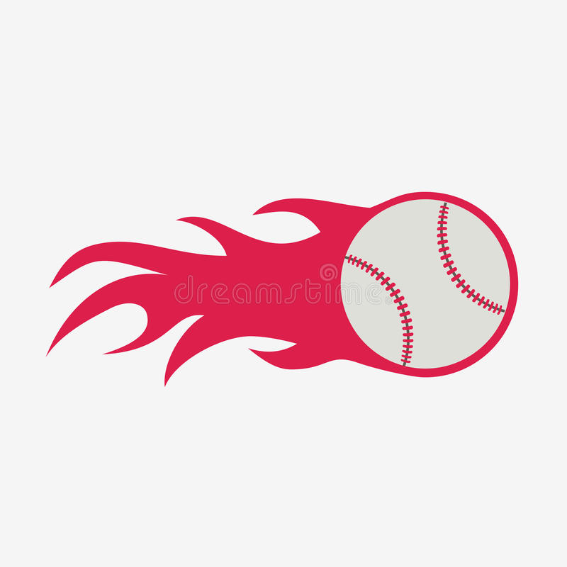 Baseball piłka z pożarniczego płomienia sporta wektorowym wyposażeniem royalty ilustracja