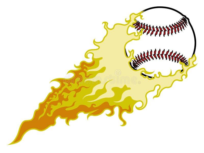 Baseball piłka z pożarniczym skutkiem royalty ilustracja