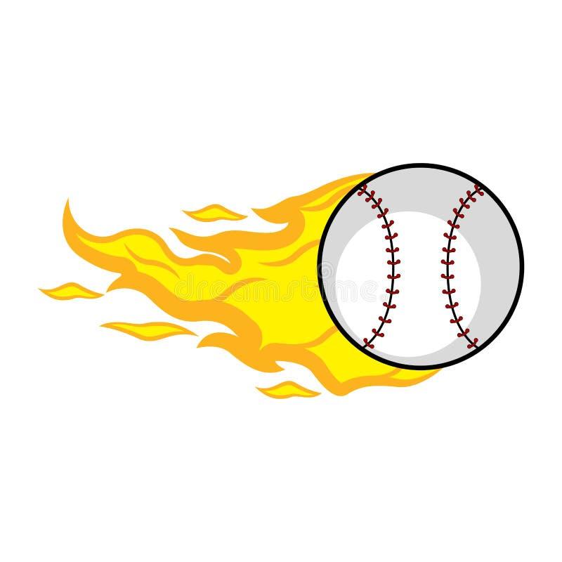 Baseball piłka z pożarniczym skutkiem ilustracji