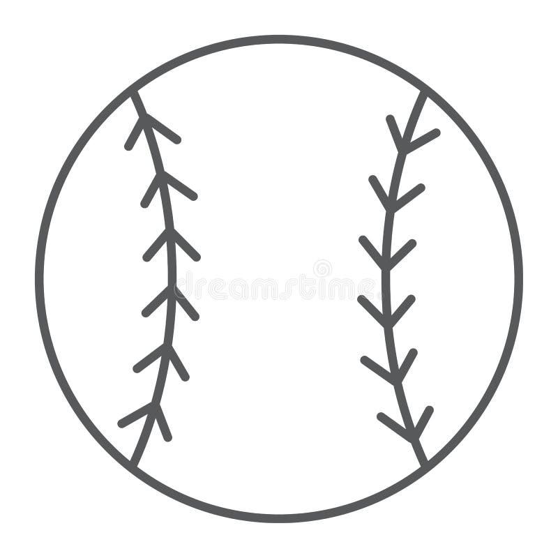 Baseball piłki cienka kreskowa ikona, gra i sport, ilustracji