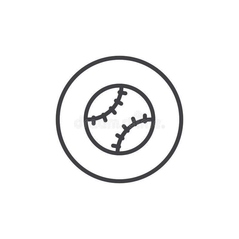 Baseball piłki linii ikona ilustracja wektor