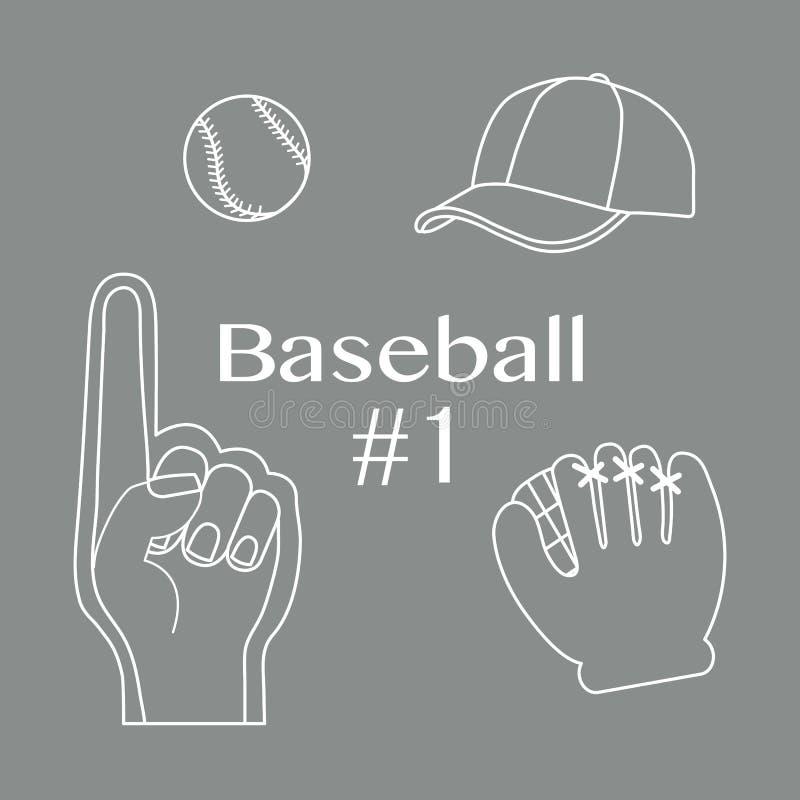 Baseball piany palec, pi?ka, nakr?tka, r?kawiczka Sport, fan ilustracja wektor