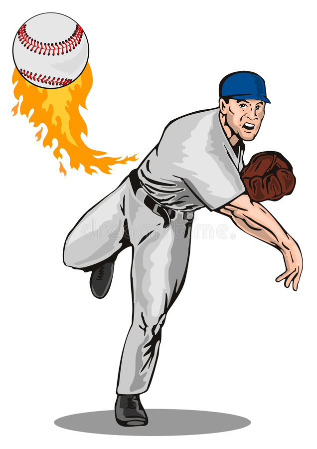 Baseball pitcher. Vector art of a baseball pitcher delivering a strike