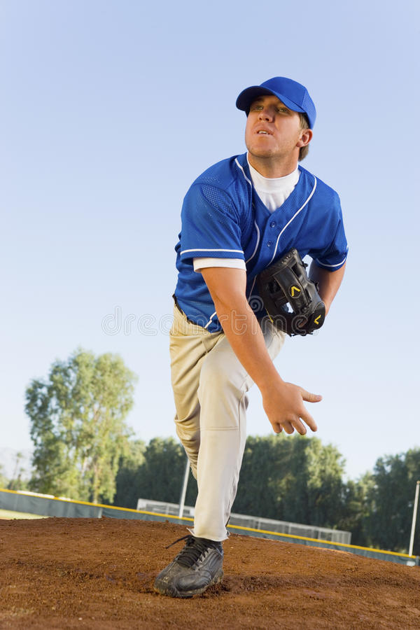 Baseball Pitcher On Mound stock images