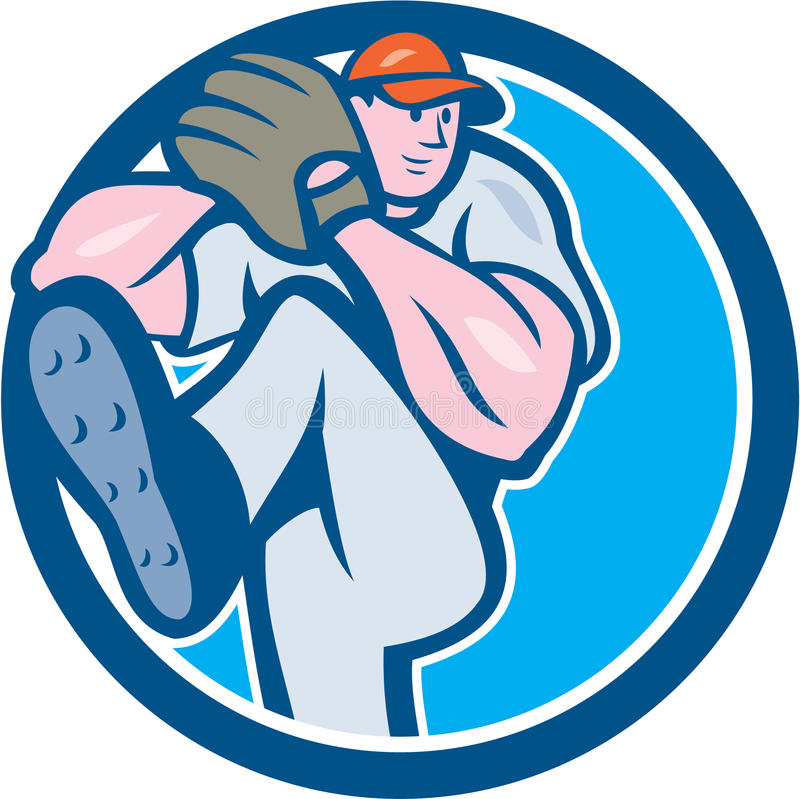 Baseball Pitcher Outfielder Leg Up Circle Cartoon. Illustration of an american baseball player pitcher outfilelder with leg up getting ready to throw ball set stock illustration