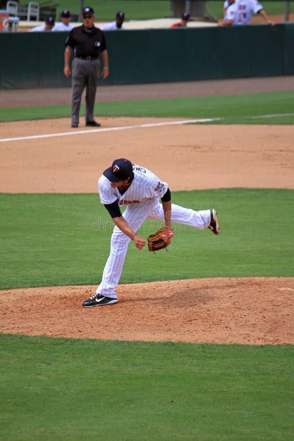 A Baseball Pitcher stock image