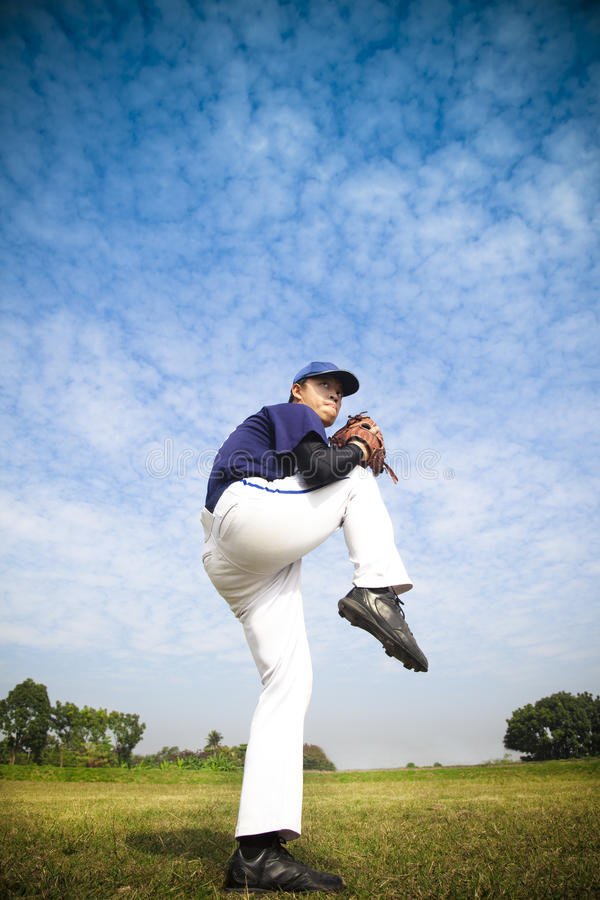 Baseball pitcher ready for throwing royalty free stock photo