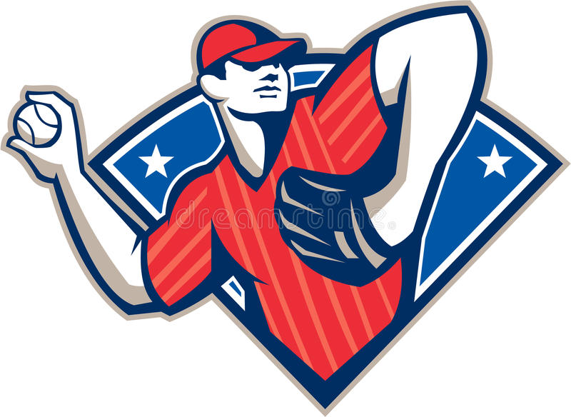 Baseball Pitcher Throwing Ball Retro royalty free stock image