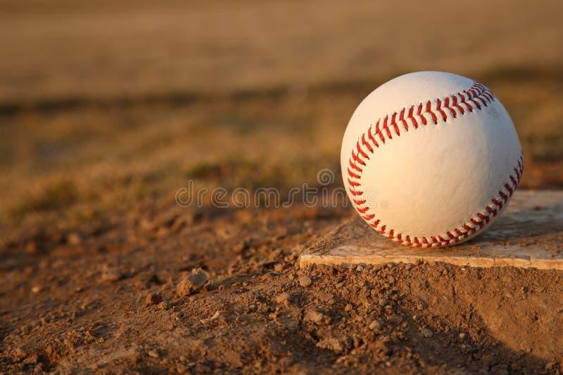 Baseball on Pitchers Mound Rubber royalty free stock photography