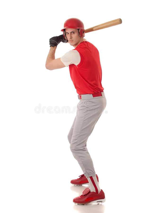 Baseball Player. Studio shot over white royalty free stock images