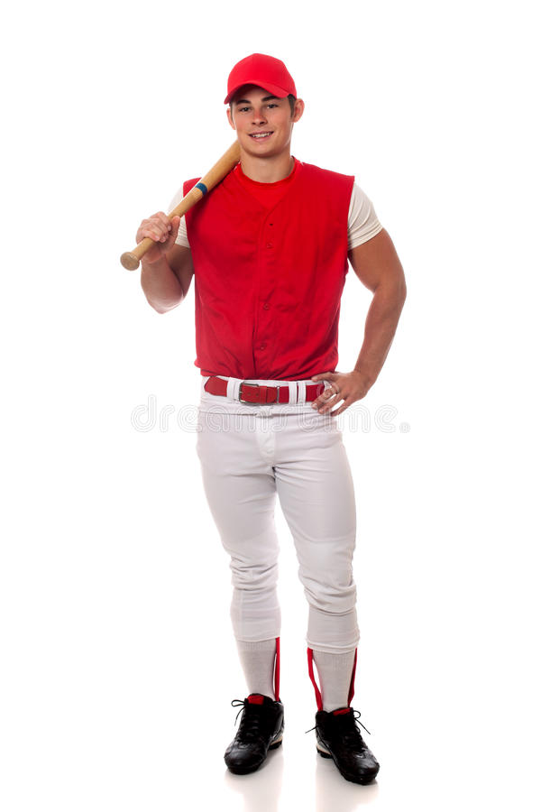 Baseball Player. With bat. Studio shot over white royalty free stock photos