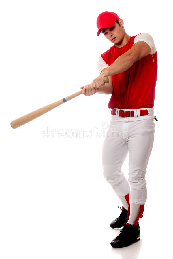 Baseball Player. With bat. Studio shot over white royalty free stock images