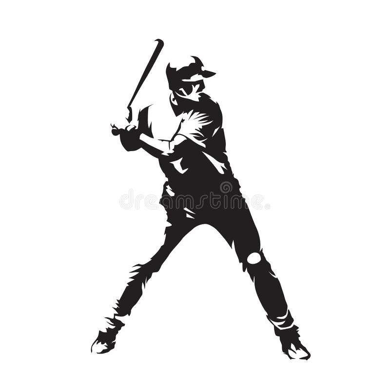 Baseball player, abstract vector silhouette stock illustration