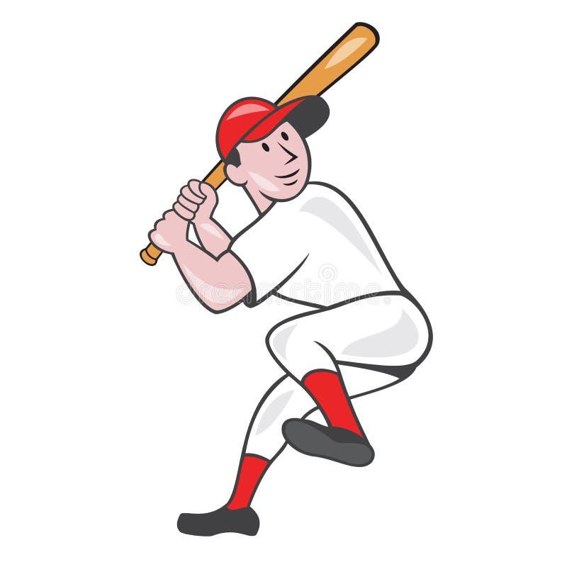 Baseball Player Batting Leg Up Cartoon. Illustration of an american baseball player batter hitter batting with one leg up done in cartoon style isolated on white vector illustration