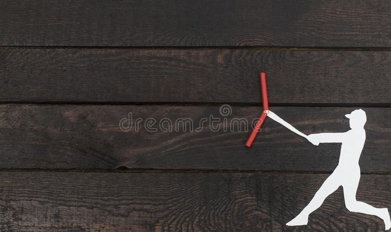 The baseball player beating and breaking stick royalty free stock images