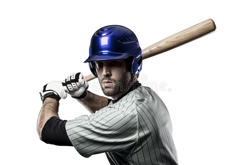 Baseball Player. In a blue uniform, on a white background stock photos