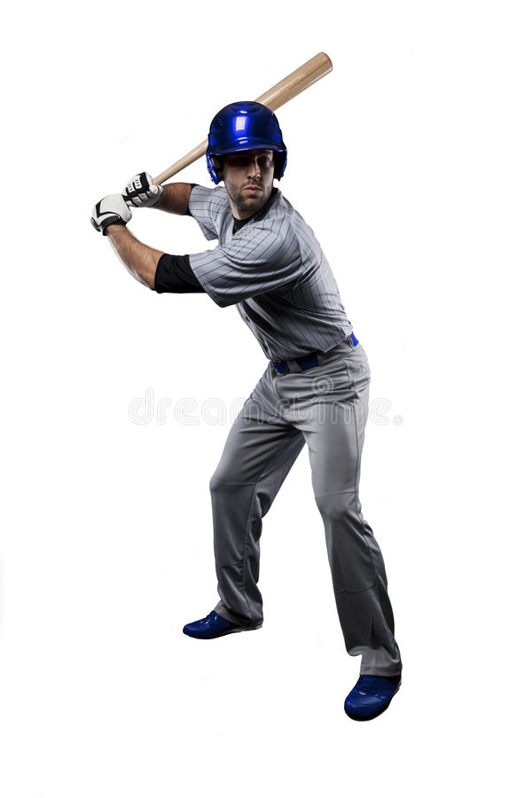 Baseball Player. In a blue uniform, on a white background stock images