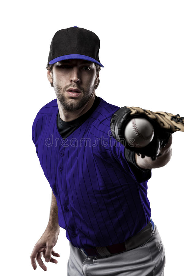 Baseball Player. With a blue uniform on a white background royalty free stock photography