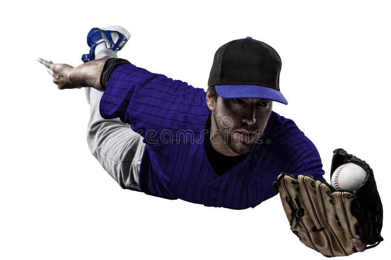 Baseball Player. With a blue uniform on a white background stock photography