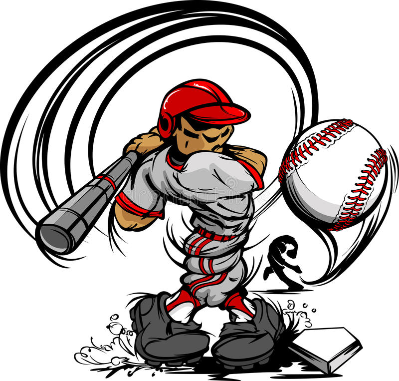 Baseball Player Cartoon Swinging Bat stock illustration