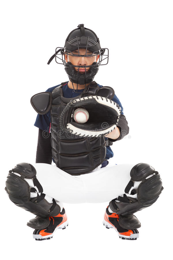 Baseball Player, Catcher, catched a baseball royalty free stock photos
