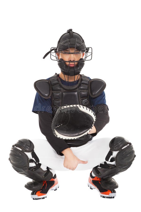 Baseball player , catcher showing direction secret signal stock photography