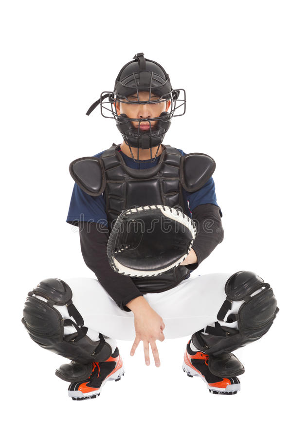 Baseball player , catcher showing secret signal gesture stock image