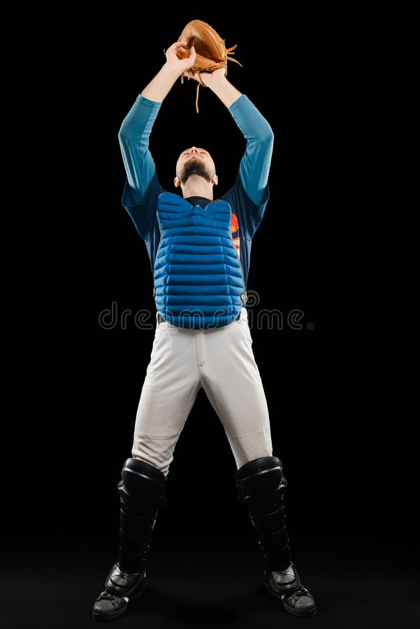 Baseball player catching a ball royalty free stock photo