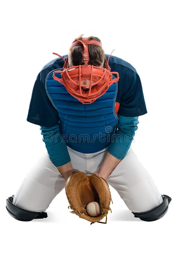 Baseball player caught a ball stock photography