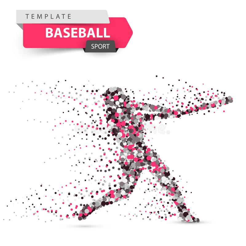 Baseball player - color dot illustration on the white background. royalty free illustration