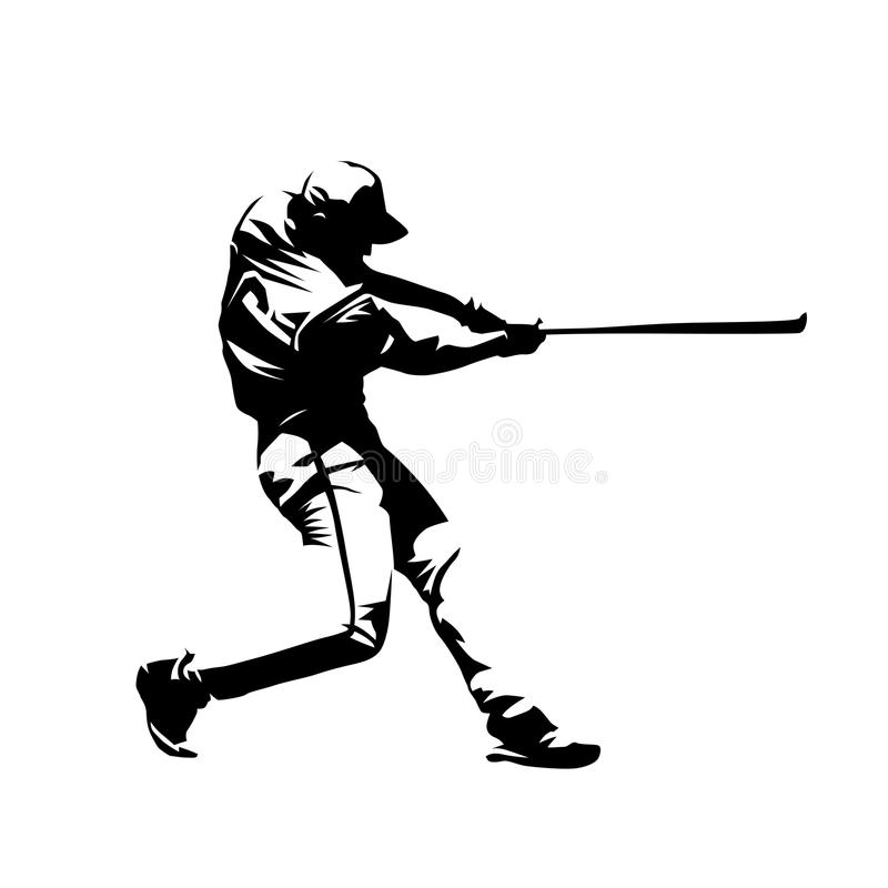 Baseball player, hitter swinging with bat vector illustration