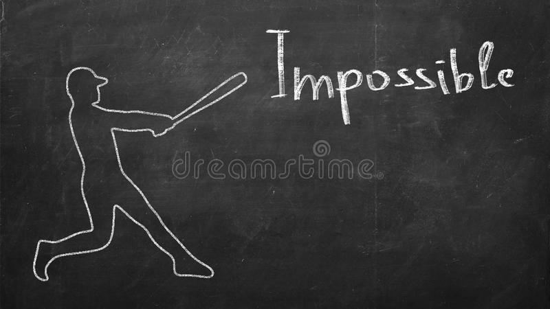 Baseball player hitting a word Impossible. Baseball player showing that everything is possible hitting a word Impossible royalty free stock photography