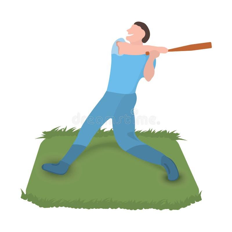 Baseball player icon. Sport label on white Background. Character Cartoon style. Vector Illustration stock illustration