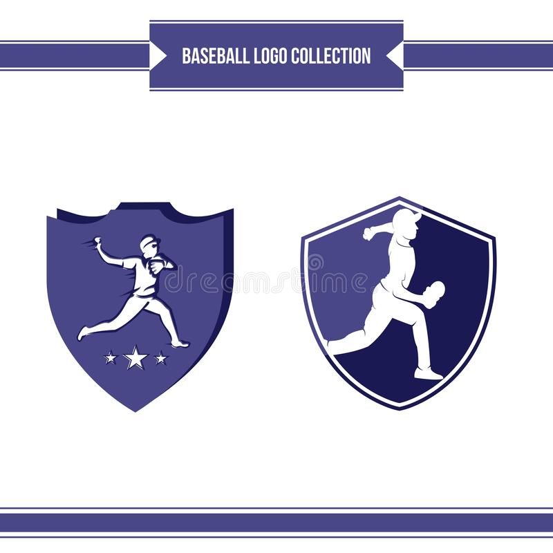 Baseball player logo vector design stock illustration