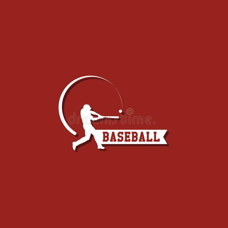 Baseball Player Logo Vector Template Design royalty free illustration