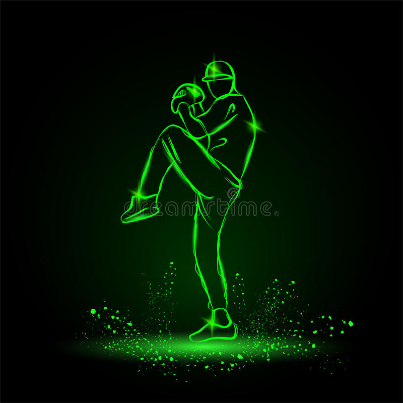 Baseball player pitcher with leg up getting ready to throw ball. neon style royalty free illustration