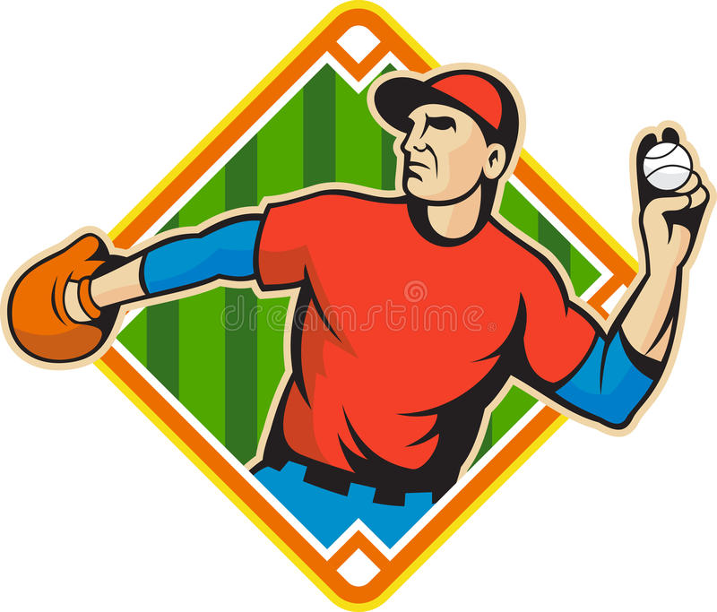 Baseball Player Pitcher Throwing Ball stock images