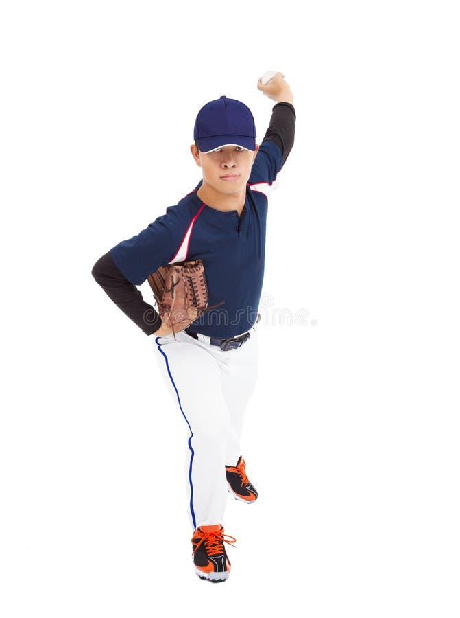 Baseball player pitcher throwing ball stock image