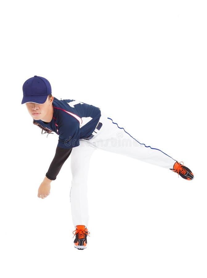 Baseball player pitcher throwing ball stock photography