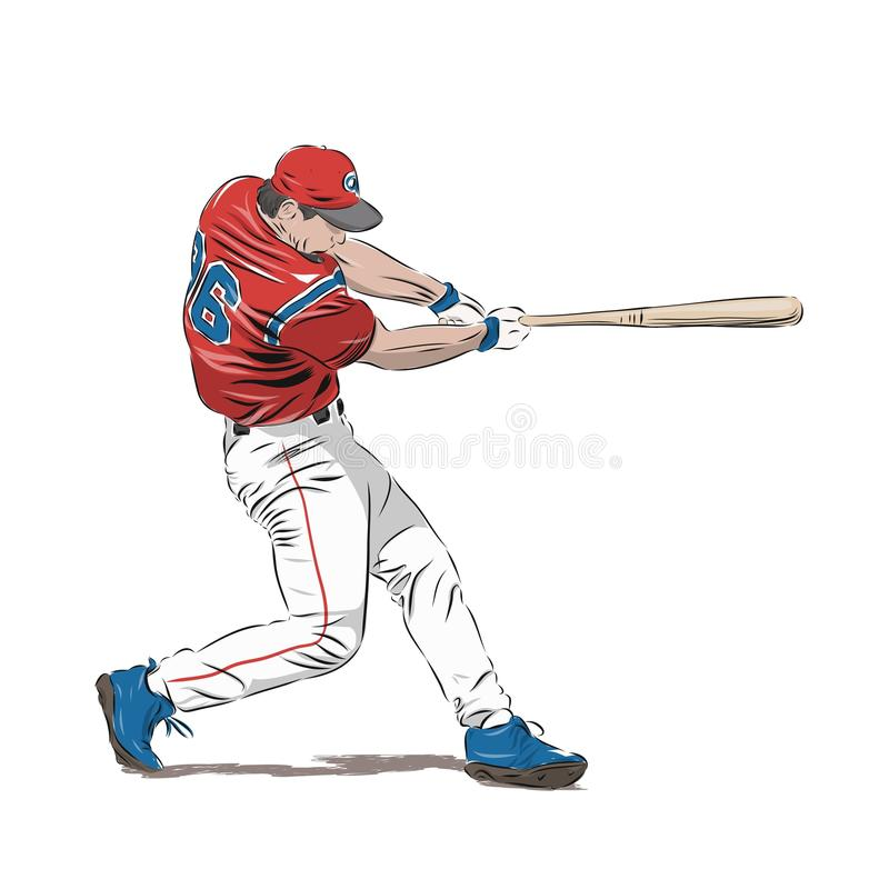 Baseball player in red jersey, vector illustration vector illustration