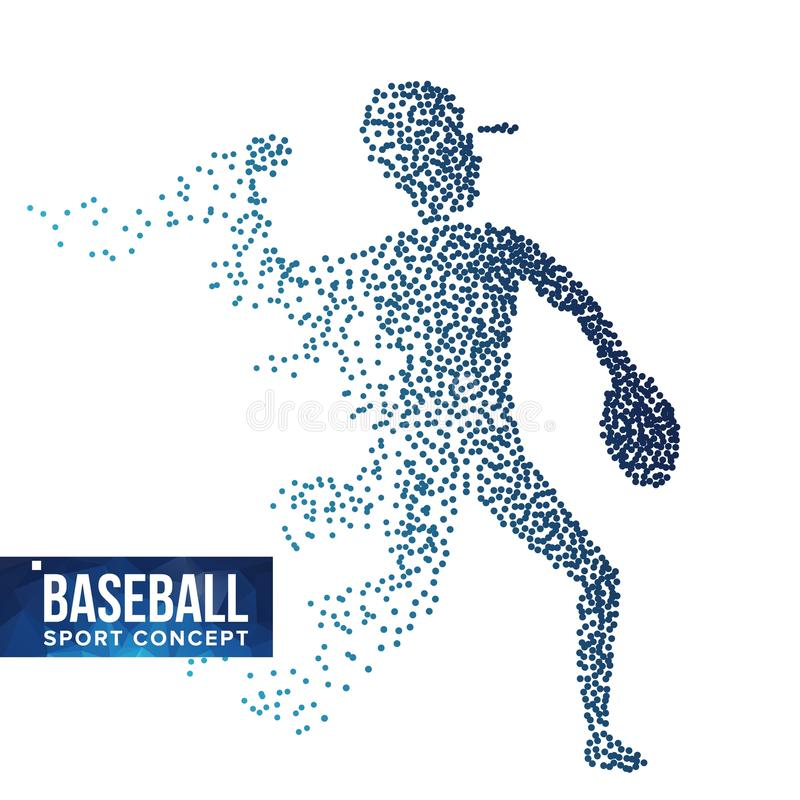 Baseball Player Silhouette Vector. Grunge Halftone Dots. Dynamic Baseball Athlete In Action. Flying Dotted Particles royalty free illustration