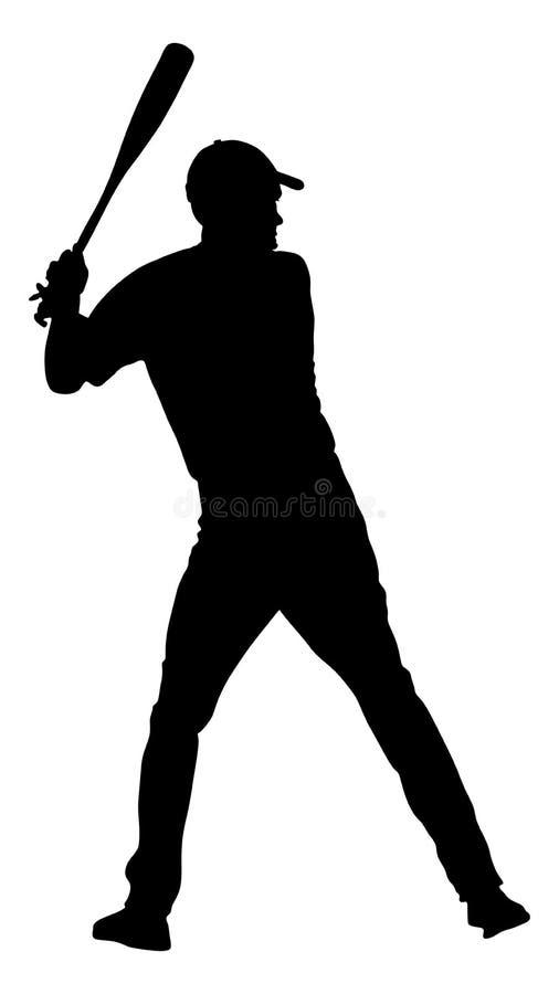 Baseball player vector silhouette illustration. stock illustration