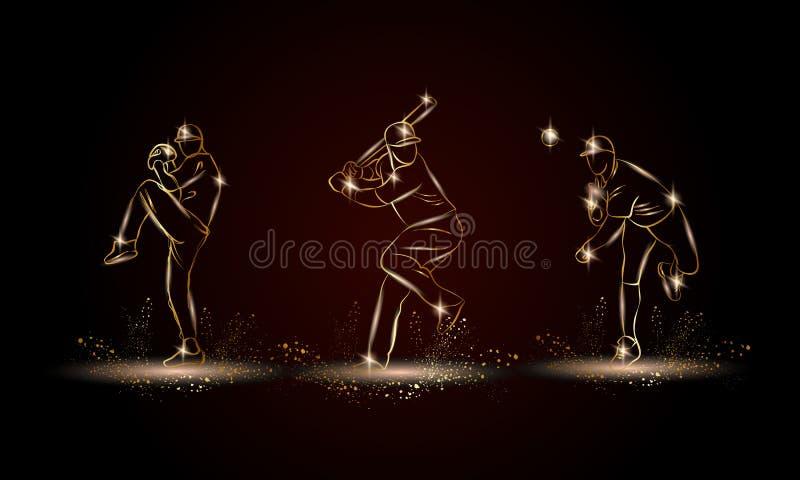 Baseball players set. Golden linear Baseball player illustration for sport banner, background. And flyer royalty free illustration