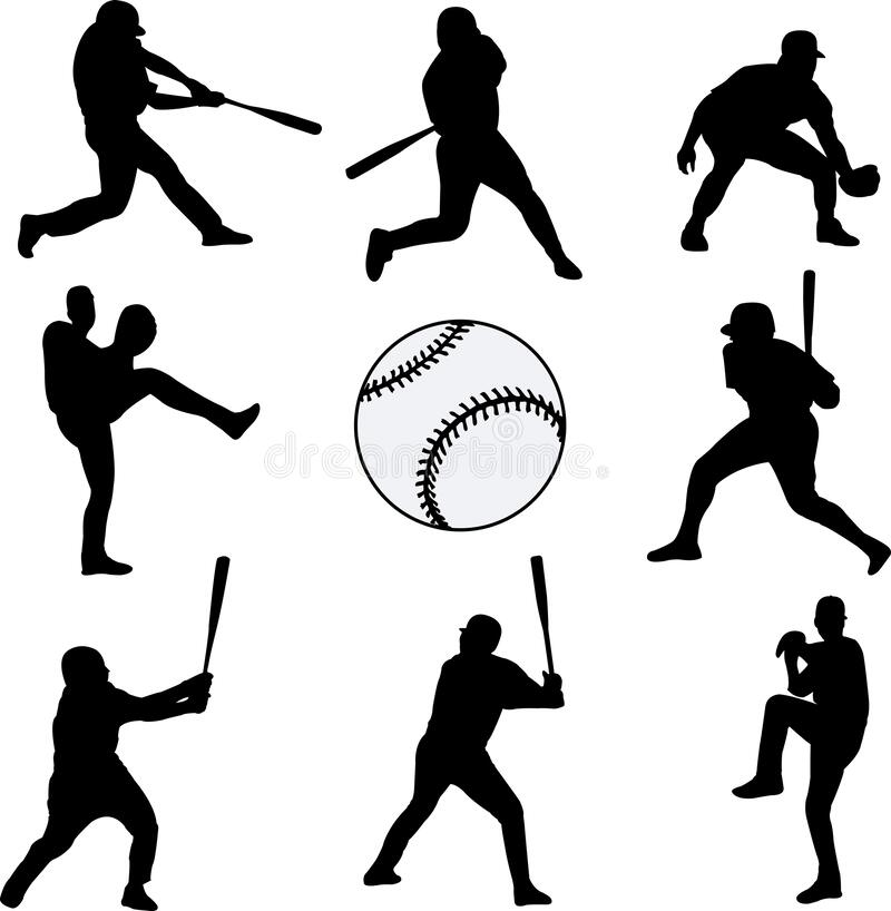 Baseball players silhouettes collection. Vector vector illustration