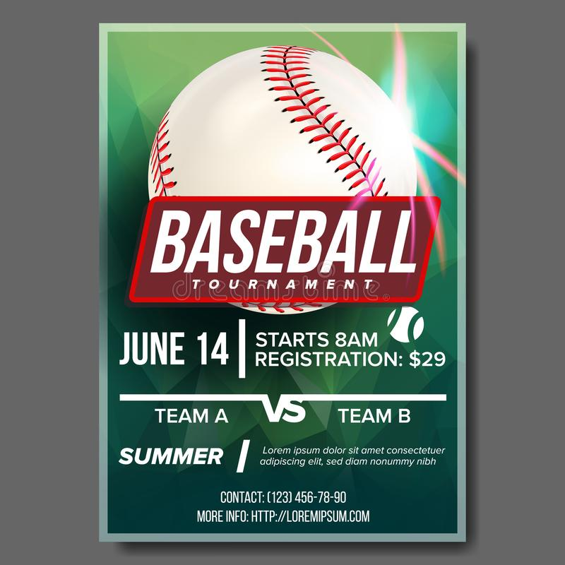 Baseball Poster Vector. Banner Advertising. Base, Ball. Sport Event Tournament Announcement. Announcement, Game, League stock illustration
